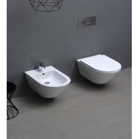 """WC con sedile copriwc a chiusura rallentata e bidet  sospesi Azzurra """"Forma"""" ceramica bianco"""